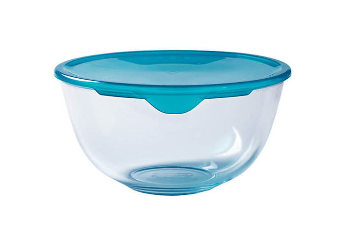 Pyrex - 2L Bowl With Lid from Borosilicate Glass Stain Resistant - 1