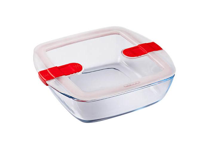 Pyrex 2.2 L Glass Square Dish with Plastic Lid, Transparent + Vert, 2.2 Litre - 1