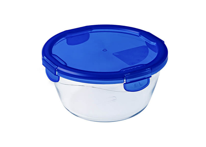 Pyrex Cook & Go – Round Container with Lid 100% Airtight, Food Container, Suitable for oven and Microwave, 20 cm, 1.6 l - 1