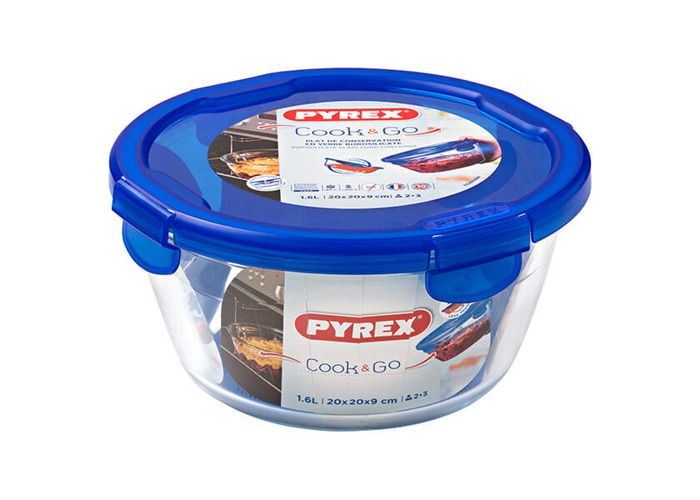 Pyrex Cook & Go – Round Container with Lid 100% Airtight, Food Container, Suitable for oven and Microwave, 20 cm, 1.6 l - 2