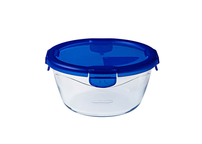 Pyrex Cook & Go rectangular glass food storage container/roaster with airtight and leakproof 4 clip locking lid – oven, freezer and microwave safe - 15x8 cm - 0,70L - 1