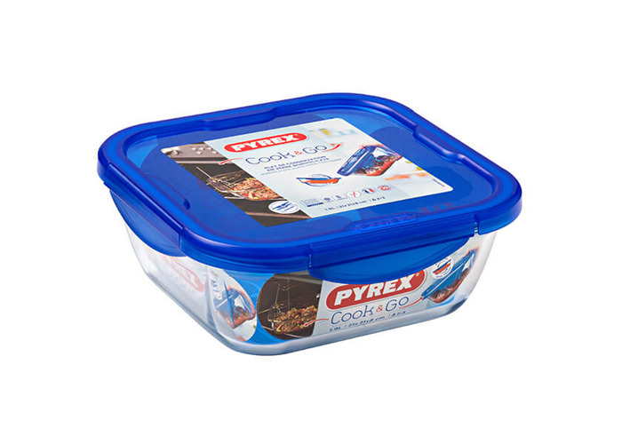 Pyrex Cook & Go Square Container with Lid 100% Waterproof, Suitable for oven and Microwave Food Container, 21 cm, 1.7 L - 2