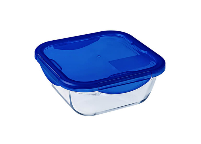 Pyrex Cook & Go Square Container with Lid 100% Waterproof, Suitable for oven and Microwave Food Container, 21 cm, 1.7 L - 1