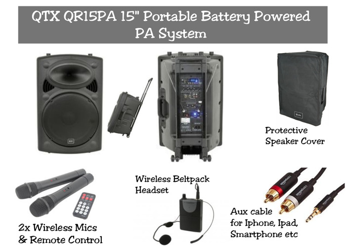 """QTX QR15PA   Portable Battery Powered 15"""" PA Speaker System - 1"""