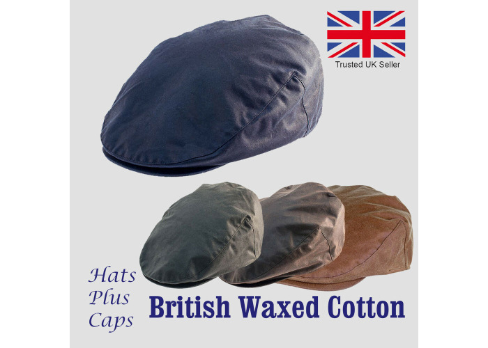 Cotton Wax Flat Cap Navy//Brown//Green Showerproof Lined