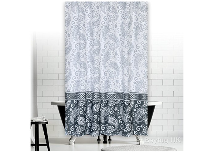 "Quality Extra Long and Wide Polyester Fabric Bathroom Shower Curtain. 240 x 200CM (94"" x 78"") Damask - 1"