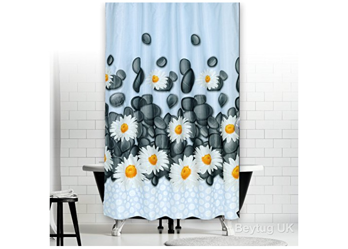 "Quality Modern Bathroom Shower Curtain Extra Long - Daisy 180 x 200CM (71"" x 78"") - 1"