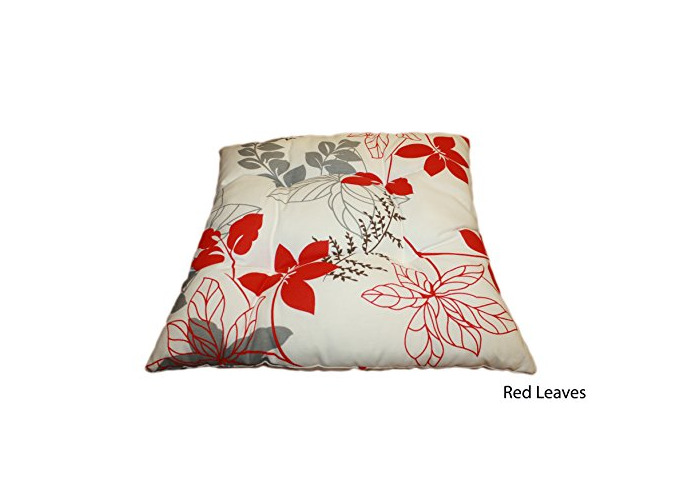 """Quality water repellent tie on dining, garden, kitchen chair seat pad, outdoor cushion 14"""" X 14"""" - Red Leaves - 1"""