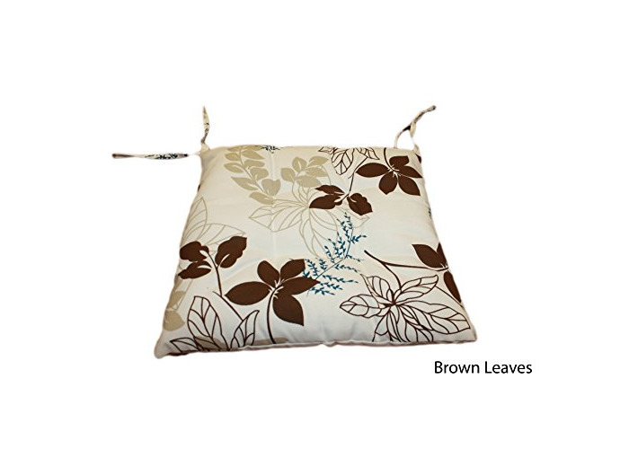 """Quality water repellent tie on dining, garden, kitchen chair seat pad, outdoor cushion 16"""" X 16"""" - Brown Leaves - 1"""