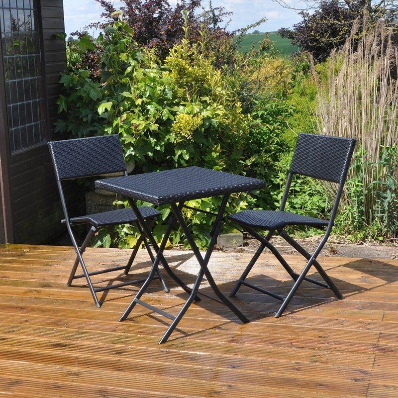 Rattan 2 Chair + Table Patio Set - 1