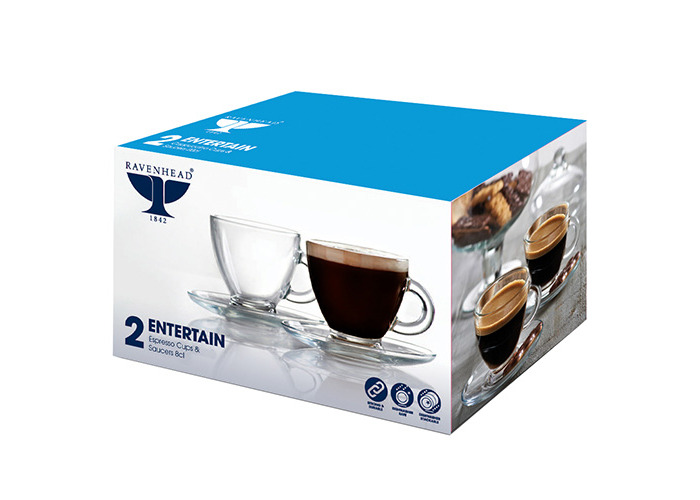 Ravenhead Entertain Espresso Cups and Saucers, Glass, Clear, 2.8 oz/80 ml, Pack of 2 - 2