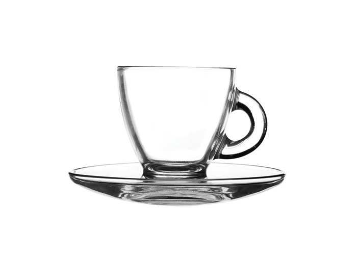 Ravenhead Entertain Espresso Cups and Saucers, Glass, Clear, 2.8 oz/80 ml, Pack of 2 - 1