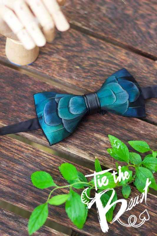 real feather fancy bowtie - 2