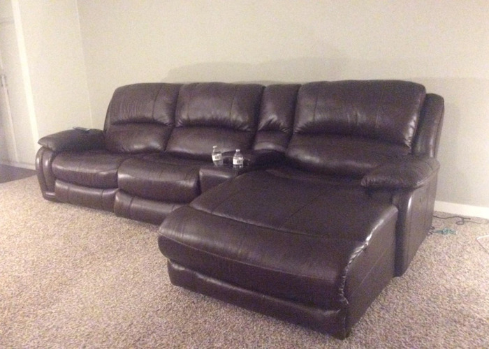 Real leather reclining sofa, 3 seater - 1