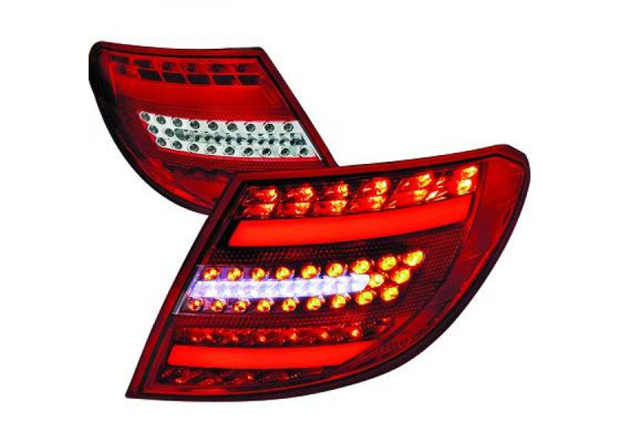 Rear Tail Lights Pair Set LED Clear Red Chrome For Mercedes W204 Saloon 07-11 - 1
