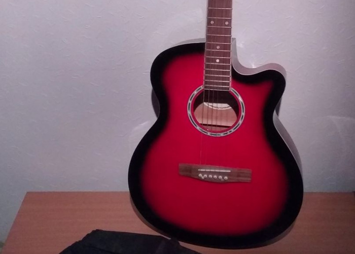 Red Acoustic Guitar - 1