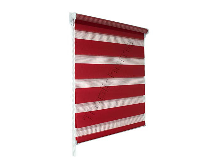 Red Day and Night Zebra/Vision Window Roller Blind (120cm Wide (+4.5cm fittings)) - 1