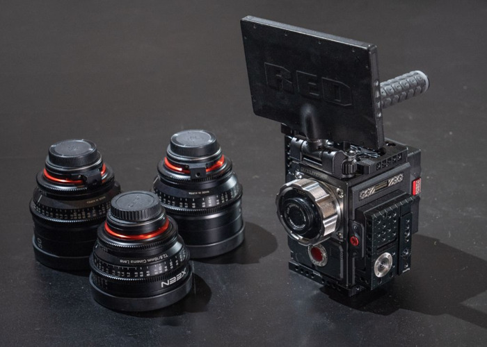 "Red Epic W 8k Camera + 3x Xeen Cine Prime Lenses ( 16mm / 24mm / 50mm )  7"" DSMC2 Monitor, 2 TB Minimag, 4x IDX Vlock Full Film Kit Cinema Package *Helium Sensor* - 1"