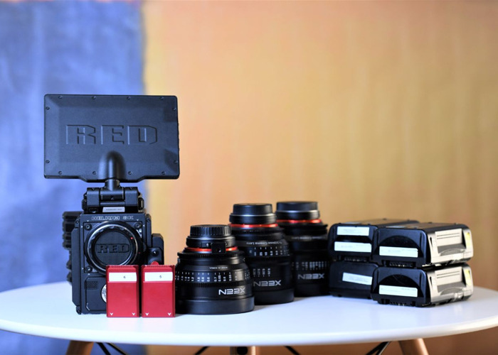 "Red Epic W 8k Camera + 3x Xeen Cine Prime Lenses ( 16mm / 24mm / 50mm )  7"" DSMC2 Monitor, 2 TB Minimag, 4x IDX Vlock Full Film Kit Cinema Package *Helium Sensor* - 2"