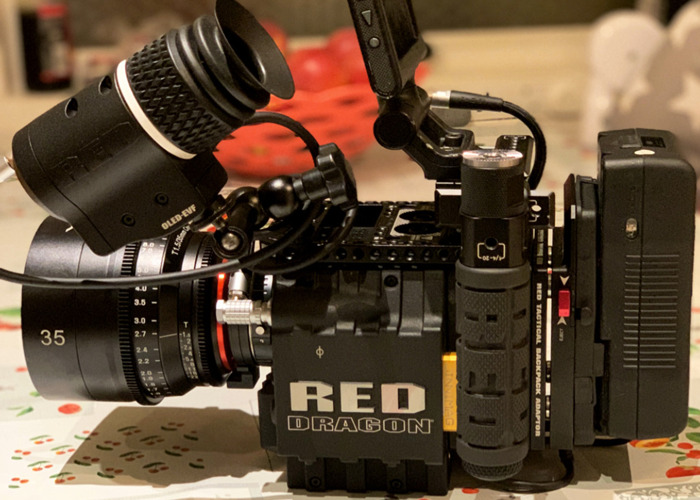"""Red Epic-X Dragon 6K +  OLPF (low-light, Skin-Tone, Standard) + PL/EF plates + 1.5TB Fast MiniMag + Red Pro Touch 5"""" TouchScreen + 4 Batteries + 1 EF Lens + XLR cable + More - 1"""