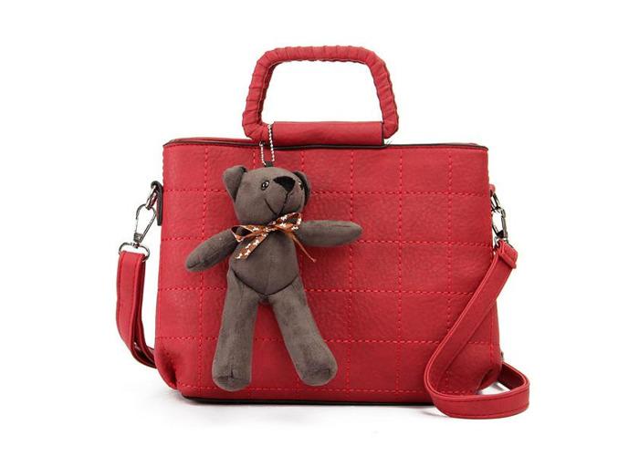 Retro Women PU Leather Plaid Bear Handbags Ladies Elgant Shoulder Bags Crossbody Bags - 1