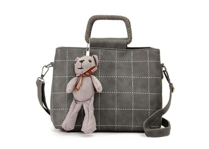 Retro Women PU Leather Plaid Bear Handbags Ladies Elgant Shoulder Bags Crossbody Bags - 2