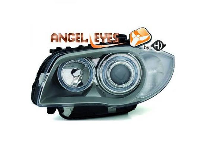 RHD LHD Projector Headlights Pair Angel Eyes Chrome For BMW 1 Series E81 E87 - 1