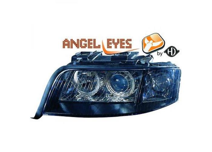 RHD LHD Projector Headlights Pair Angel Eyes Clear Black For Audi A6 Typ 4B - 2