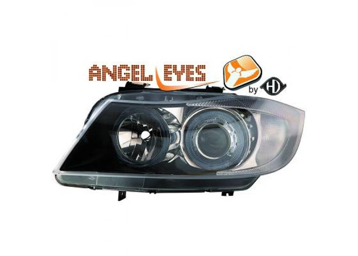 RHD LHD Projector Headlights Pair Angel Eyes Clear Black H7 H7 For BMW E90 91 - 1