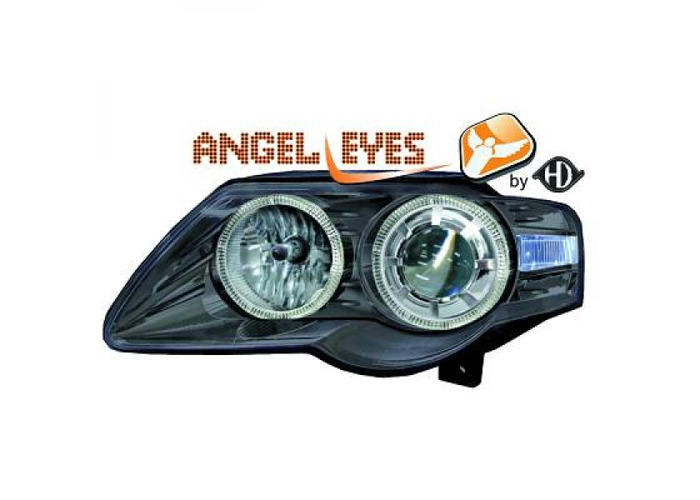 RHD LHD Projector Headlights Pair Angel Eyes Clear Black H7 H7 For VW Passat - 1