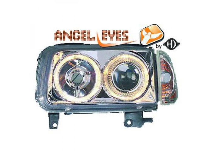 RHD LHD Projector Headlights Pair Angel Eyes Clear Chrome H7 H7 For VW Polo - 1