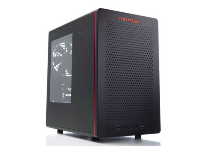 Riotoro CR280 SFF Gaming Case with Window, Mini ITX, No PSU, 2 x 12cm Fans, Large GPU & PSU Support, Black & Red - 1