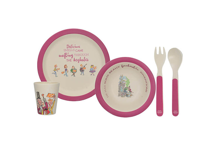 Roald Dahl Charlie and The Chocolate Factory Children's Bamboo Wood Dinner Set - Purple/White (5 Pieces) - 1