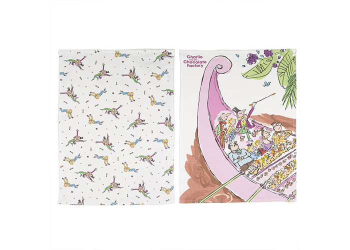 Roald Dahl Charlie And The Chocolate Factory Set Of 2 Tea Towels - 1