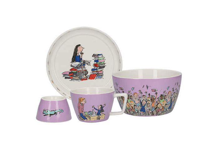 Roald Dahl MATILDA Children's Stackable Ceramic Breakfast Set - Lilac (4 Pieces) - 1
