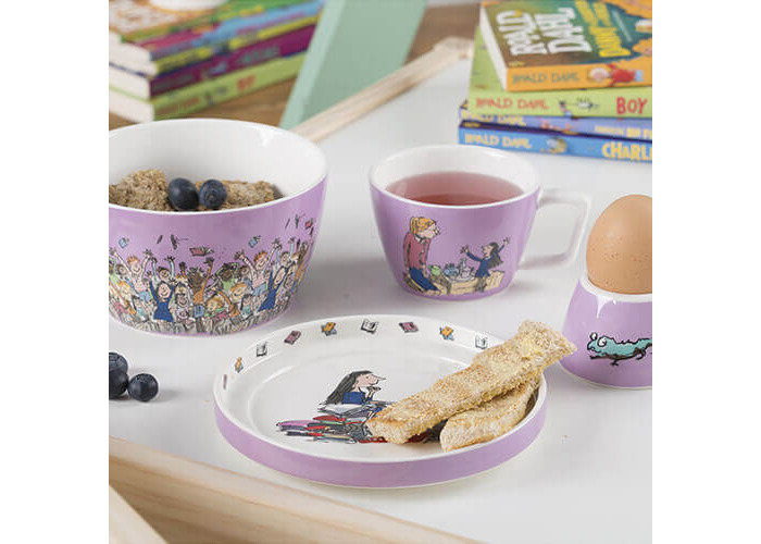 Roald Dahl MATILDA Children's Stackable Ceramic Breakfast Set - Lilac (4 Pieces) - 2