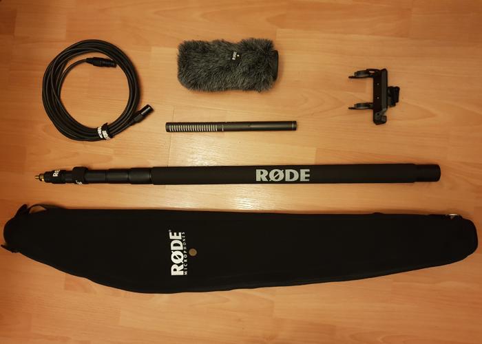 Rode NTG2 Microphone Windshield Shockmount + Boompole + Case - 1