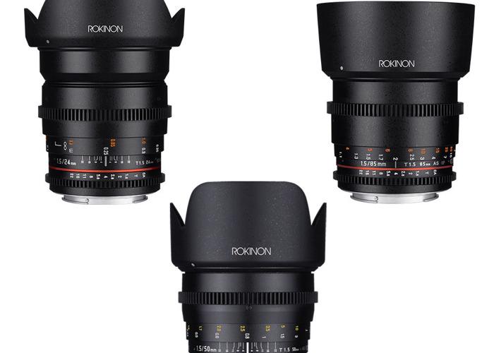 Rokinon T1.5 Cine Lenses EF Mount Fast Primes 24mm, 50mm, 85 - 1
