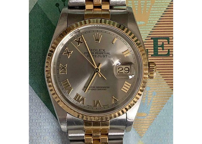 ROLEX DATEJUST 36MM 16233 18K & SS WITH RHODIUM GREY ROMAN DIAL 2004 - 2