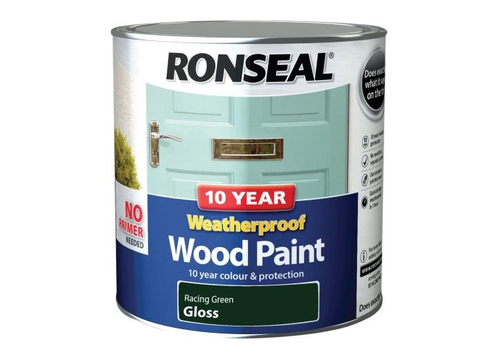 Ronseal 38785 10 Year Weatherproof 2-in-1 Wood Paint Racing Green Gloss 2.5 Litre - 1