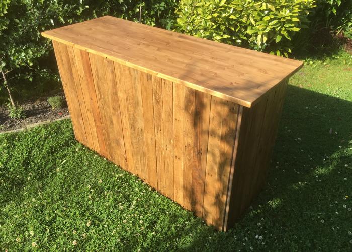 Rustic Pallet Wood Mobile Bar - 2