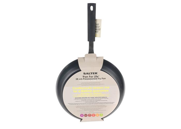 Black Oven Safe 28 cm Salter BW05457BS Carbon Steel Pan for Life Pre-Seasoned Frying Pan