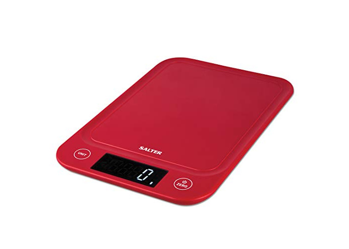 Salter Digital Kitchen Scales, Electronic Cooking Food Scale, Ultra Slim Design, Accurate Weighing Home + Kitchen, Metric Gram + Imperial, Liquids ml / fl oz, Easy Read LCD, 15 Year Guarantee - Red - 1