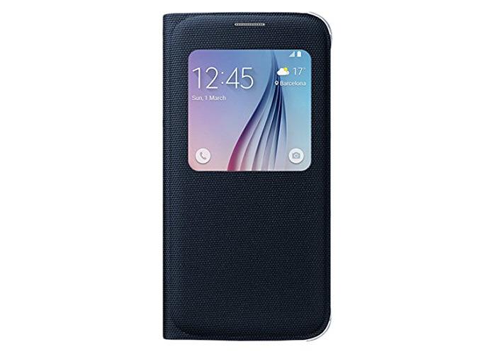 Samsung S-View Fabric Window Flip Premium Case Cover Galaxy S6 - Black - 1