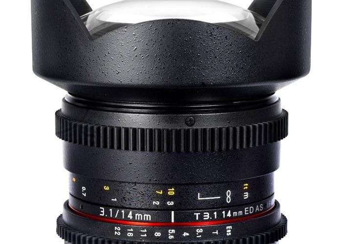 Samyang 14mm T3.1 EF mount manual lense.  - 1