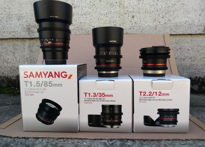 Rent Samyang/Rokinon 12/35/85mm lens set MFT in London | Fat