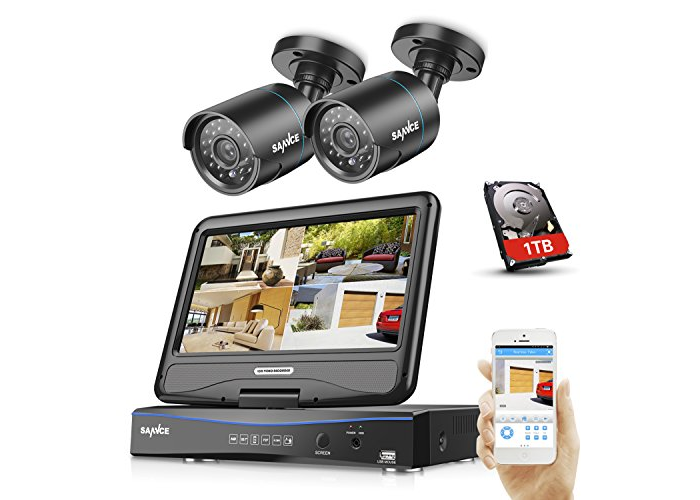 SANNCE 4CH 720P CCTV DVR and 2 PCS Day Night Weatherproof Security Cameras with - 1