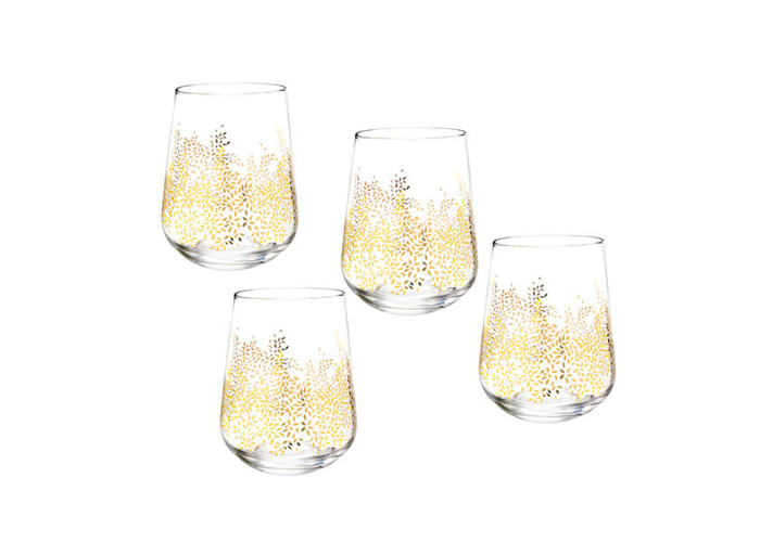 Sara Miller Chelsea Collection Set of 4 Stemless Wine Glasses - 1