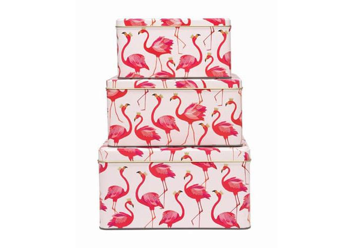 Sara Miller Flamingo Set Of 3 Square Cake Tins - 1