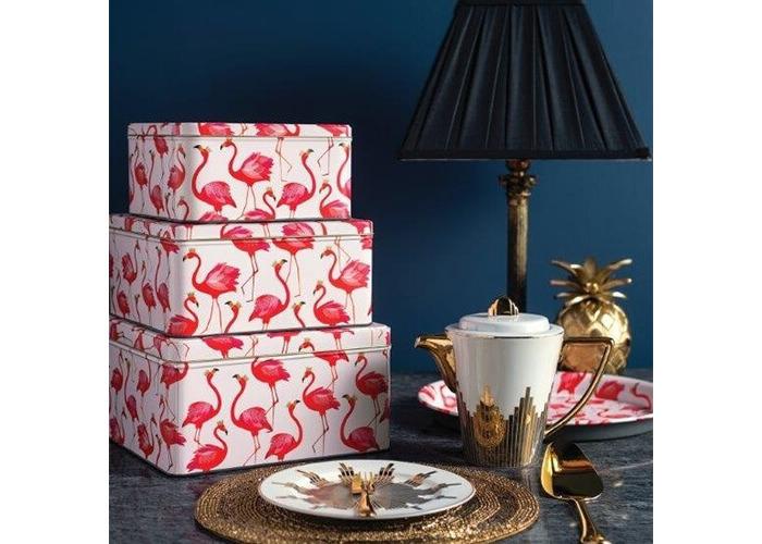 Sara Miller Flamingo Set Of 3 Square Cake Tins - 2